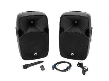 OMNITRONIC XFM-212AP Active 2-Way Speaker Set with Wireless Microphone