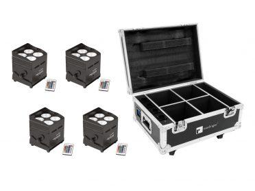 EUROLITE Set 4x AKKU UP-4 QCL Spot QucikDMX + Case with charging function