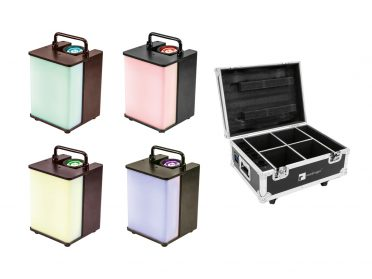 EUROLITE Set 4x AKKU UP-1 Glow QCL + Case with charging function