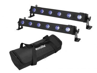EUROLITE Set 2x LED BAR-6 QCL RGB+UV Bar + Soft-Bag