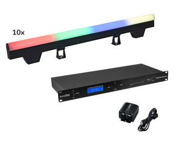 WASH Pixel LED Bar EUROLITE Set 10x LED PT-100/32 Pixel DMX Tube + DMX Software