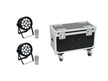 EUROLITE Set 2x AKKU IP PAR 14 HCL QuickDMX + Case with wheels