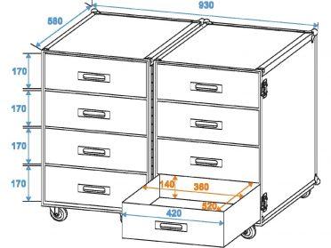 ROADINGER Universal Roadie Case Double Drawer DD-2