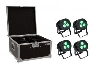 EUROLITE Set 4x LED IP PAR 3x8W QCL Spot + Case