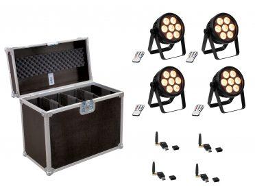 EUROLITE Set 4x LED 7C-7 Silent Slim Spot + USB QuickDMX + Case