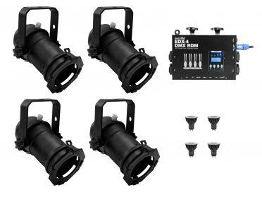 PAR-16 spotlámpa szett EUROLITE Set 4x PAR-16 Spot bk dim2warm + EDX-4 DMX RDM LED Dimmer pack