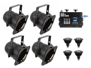 PAR-38 spotlámpa szett EUROLITE Set 4x PAR-38 Spot bk dim2warm + EDX-4 DMX RDM LED Dimmer pack