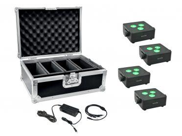 Akkumulátoros LED spotlámpa szett EUROLITE Set 4x AKKU IP Flat Light 3 bk + Charger + Case