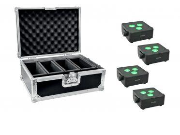Akkumulátoros spotlámpa LED szett EUROLITE Set 4x AKKU IP Flat Light 3 bk + Case