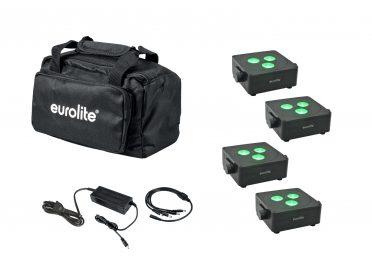 Akkumulátoros LED spot szett EUROLITE Set 4x AKKU IP Flat Light 3 bk + Charger + Soft-Bag