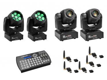 EUROLITE Mozgófejes robotlámpa szett EUROLITE Set 2x LED TMH-W63 + 2x LED TMH-S30 + USB QuickDMX + Easy Show