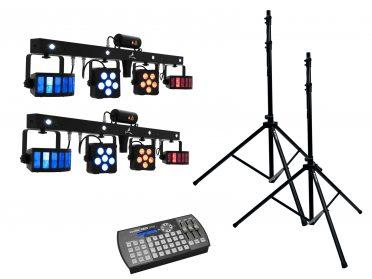 kompakt LED fényszett állvánnyal EUROLITE Set 2x LED KLS Laser Bar PRO + Easy Show + 2x M-4 Speaker-System Stand