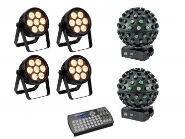 PAR spotlámpa BEAM lézer EUROLITE Set 4x LED 7C-7 Silent Slim Spot + 2x LED B-40 HCL + Easy Show