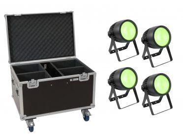 LED színpadi spotlámpa RGB EUROLITE Set 4x LED Theatre COB 200 RGB+WW + Case with wheels