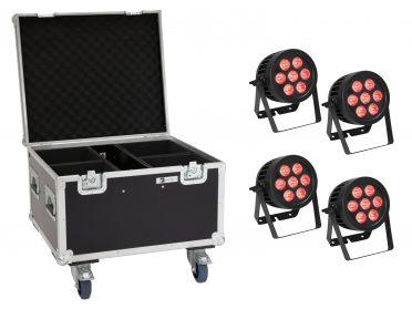 Kültéri PAR Spotlámpa RGBW EUROLITE Set 4x LED IP PAR 7x8W QCL Spot + Case with wheels