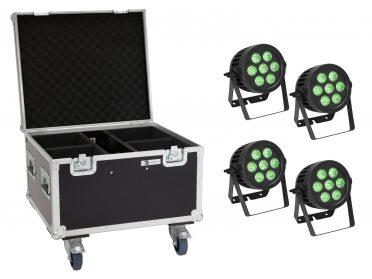 Kültéri IP PAR Spotlámpa EUROLITE Set 4x LED IP PAR 7x9W SCL Spot + Case with wheels