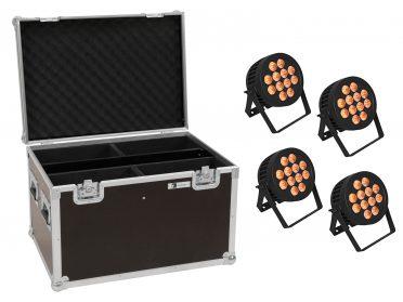 Kültéri PAR Spotlámpa reflektor EUROLITE Set 4x LED IP PAR 12x8W QCL Spot + Case