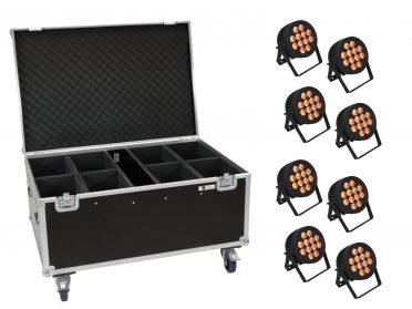 Kültéri reflektor szett PAR EUROLITE Set 8x LED IP PAR 12x8W QCL Spot + Case with wheels