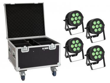reflektor PAR Spotlámpa szett EUROLITE Set 4x LED IP PAR 7x9W SCL Spot + Case with wheels