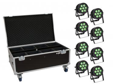 reflektor PAR Spotlámpa szett EUROLITE Set 8x LED IP PAR 7x9W SCL Spot + Case with wheels
