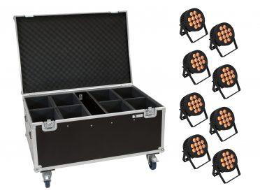 reflektor PAR Spotlámpa szett EUROLITE Set 8x LED IP PAR 12x9W SCL Spot + Case with wheels