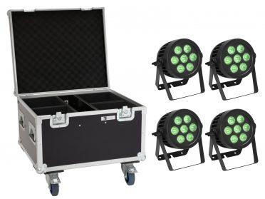 reflektor szett PAR Spotlámpa EUROLITE Set 4x LED IP PAR 7x8W QCL Spot + Case with wheels