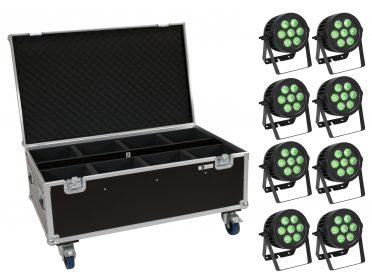 reflektor szett PAR Spotlámpa EUROLITE Set 8x LED IP PAR 7x8W QCL Spot + Case with wheels
