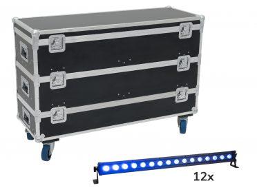 LED T-BAR fényeffekt szett EUROLITE Set 12x LED IP T-Bar 16 QCL Bar + Case with wheels