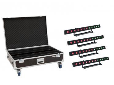 BAR fény pixel vezérléssel EUROLITE Set 4x LED PIX-12 HCL Bar + Case with wheels