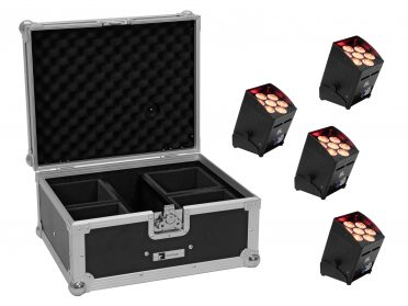 Akkumulátoros LED spotlámpa 7x8W EUROLITE Set 4x AKKU UP-7 QCL Spot QuickDMX + Case
